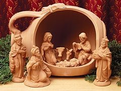 Italian terra cotta nativity. Sheree's gift is even more exquisite - the creche has an angle attachment