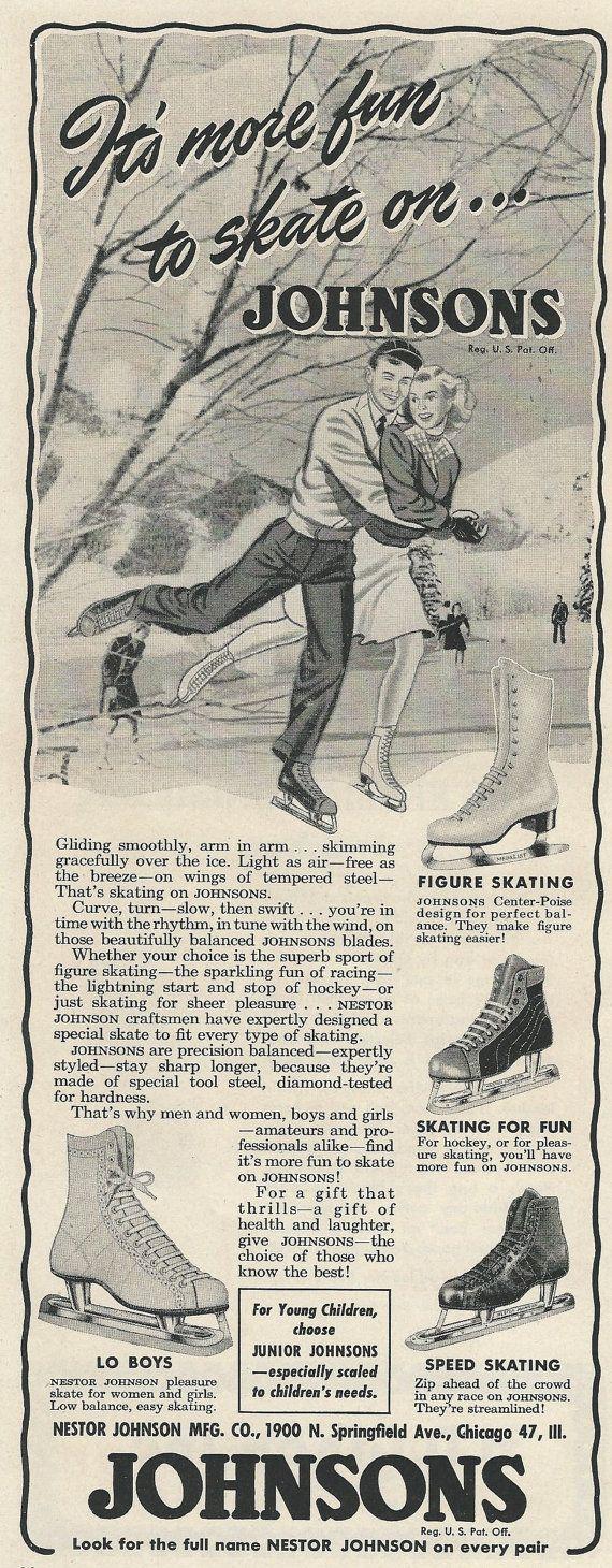 Johnsons Ice Skates Original 1946 Vintage Print by VintageAdarama, $9.99