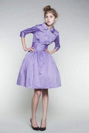 Lilac Cotton Shirtwaist Dress by Mrs Pomeranz by mrspomeranz, £285.00