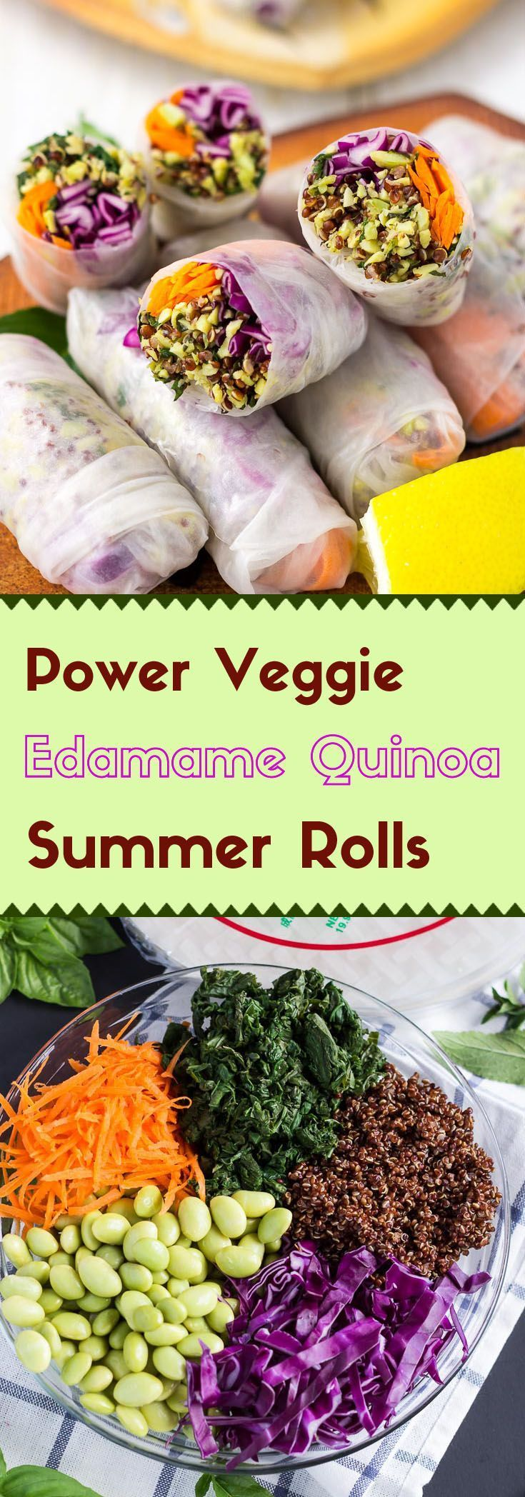 Are you looking for school lunch ideas? You're going to get excited about these edamame quinoa summer rolls with their minty, buttery crunch. (vegan, gluten-free)