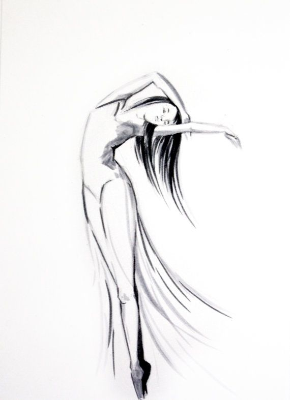 Original Ink Drawing of Dancing Woman Ballerina door CanotStop, $40.00