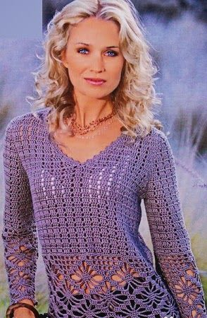 TRICO y CROCHET-madona-mía: blusas de manga larga crochet con patrón