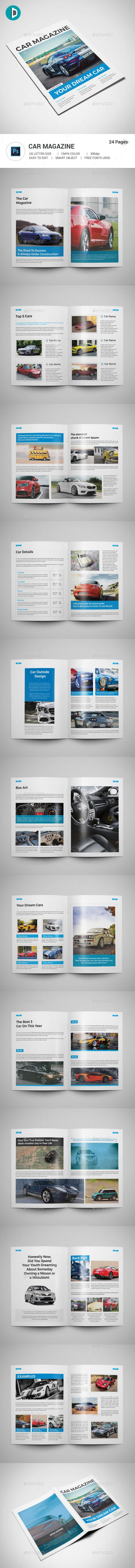 Car Magazine Template PSD - 24 Pages US Letter Size