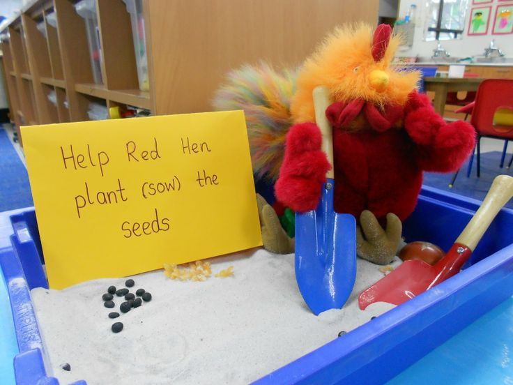 Little Red Hen sensory play. Links to other traditional tales here too.