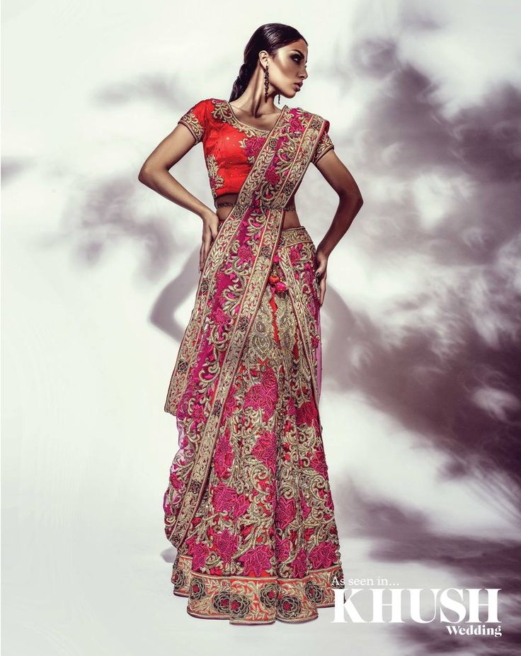 Pink Embroidered #Lehenga #Saree With Red Embroidered #Blouse.