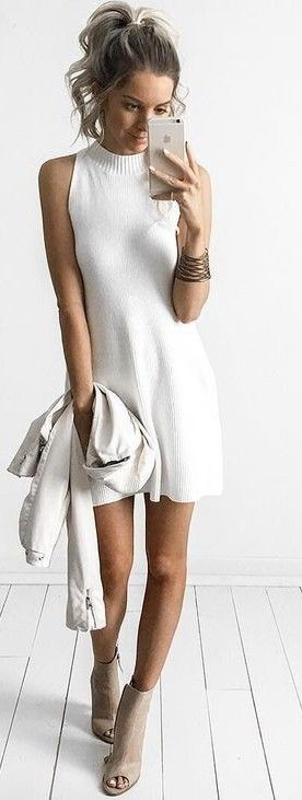 Ribbed Little White Dress                                                                             Source
