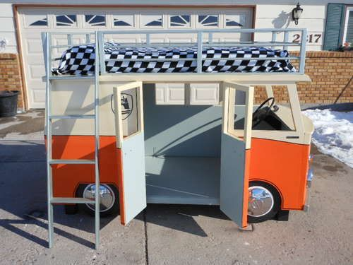 This is freakin AWESOME.  VW Bus Bunk Bed Playhouse combo...I definitely see this in Grey's future!