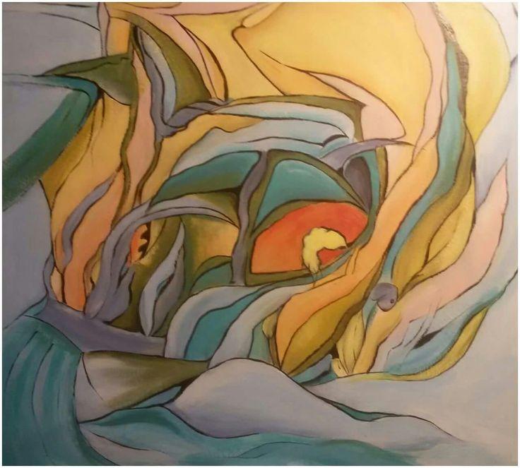 """Zlatý břeh"", akryl 80x90 cm."