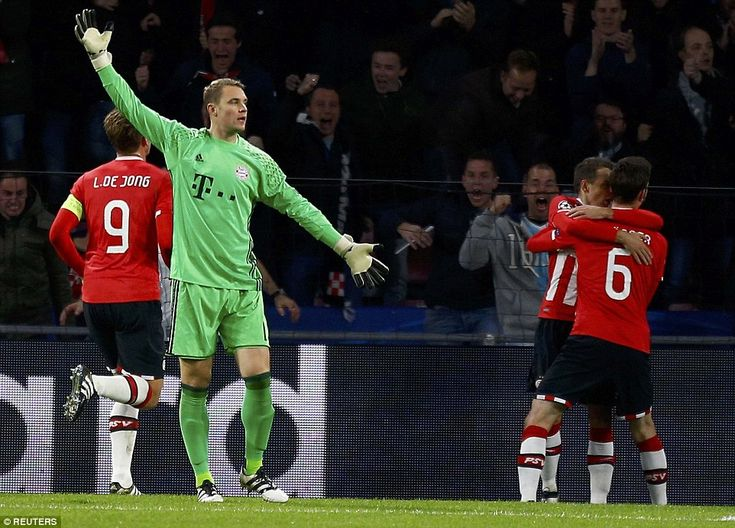 German goalkeeperNeuer appeals to officials afterArias appeared to be offside but the goal was allowed to stand