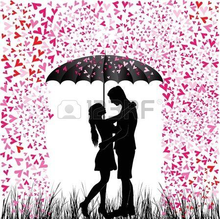 Csókos pár szív eső férfi és a nő szerelmes Valentin napi háttér év alatti fiatalok esernyő elszigetelt fehér