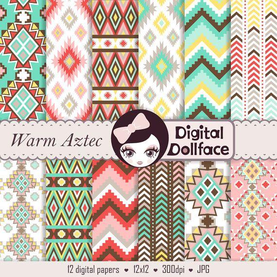 Azteco Scrapbooking digitale Aztec Tribal di DigitalDollface