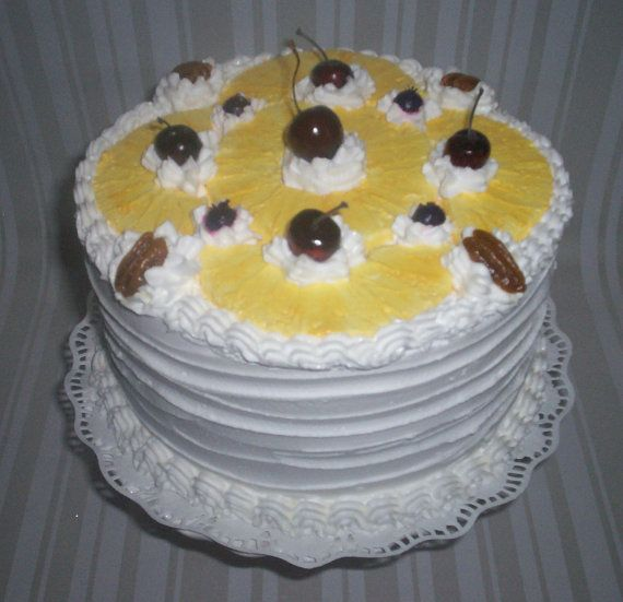 Summer Faux Cake Pineapple Cherry Layer Artificial Cake