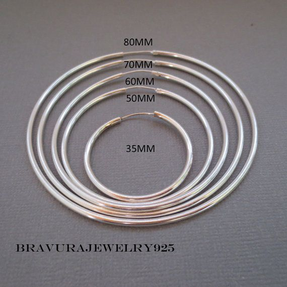 Continuous 925 Sterling Silver Tube Hoop Earrings/Gypsy Hoops/Large Sterling Silver Hoops/Endless Hoops/Aretes de plata/Arracadas Grandes