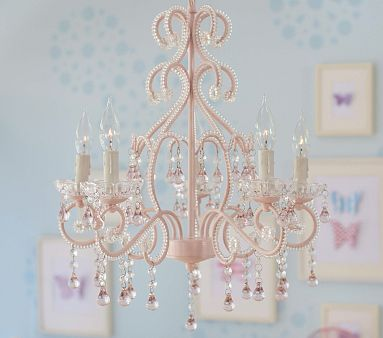 Every little girl needs a small chandelier in their room, no? Pink Lydia Chandelier #pbkids