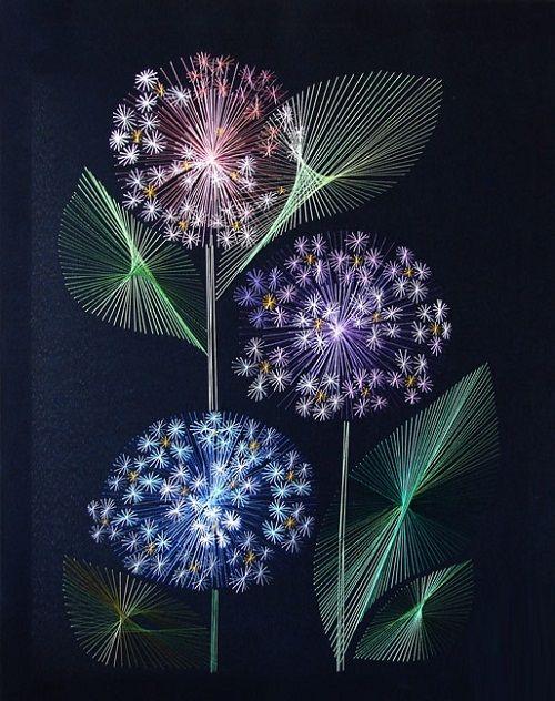 Forget-me-not. String art by Russian artist Olga Voronova