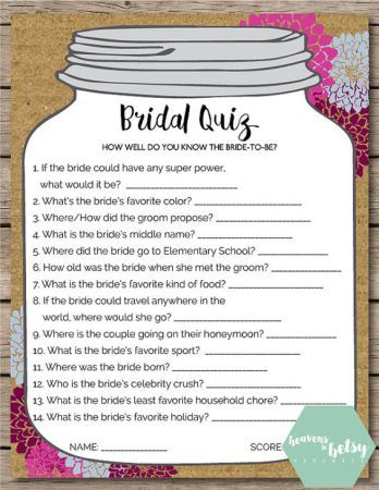 this printable bridal quiz game is perfect for any bridal shower or wedding keep guests entertained while watching a bride open gifts at a shower