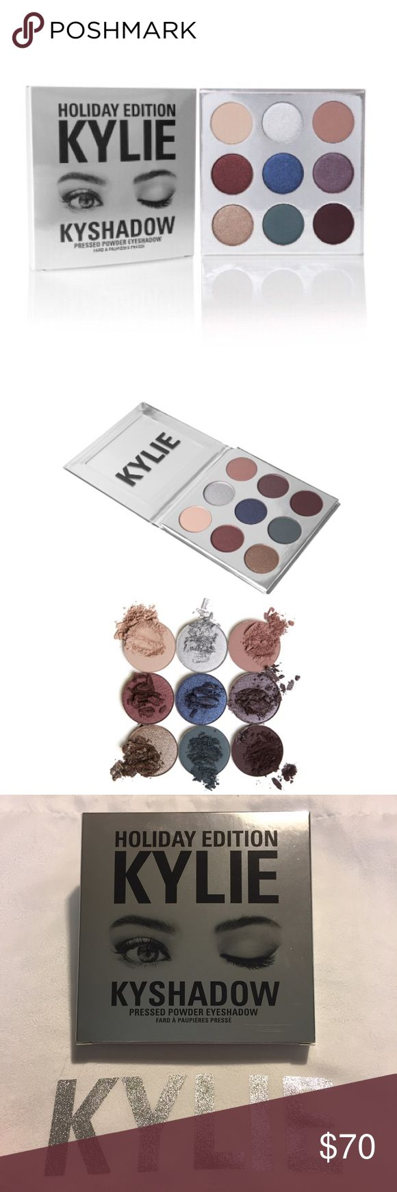 Kylie Holiday Edition Kyshadow Palette contains 9 pressed Eyeshadows that are infused with Diamond Powder! ❄️Sugar Cookie (matte finish creamy warm nude) ❄️Frosty (metallic finish platinum silver) ❄️Chestnut (matte finish muted dusty mauve) ❄️Mittens (metallic finish deepened mahogany red) ❄️Winter (metallic finish shimmering denim blue) ❄️Nutcracker (metallic finish silvery Plum) ❄️Gingerbread (metallic finish shimmering silver bronze) ❄️Evergreen (matte finish deep teal green) ❄️Silent…