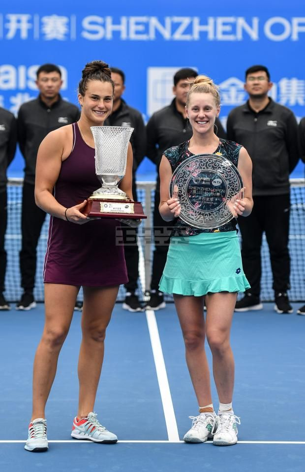 05 January 2019 Aryna Sabalenka L Of Belarus And Alison Riske Of The United States Pose On The Awarding Ceremony After Tennis Tournaments Match Tournaments