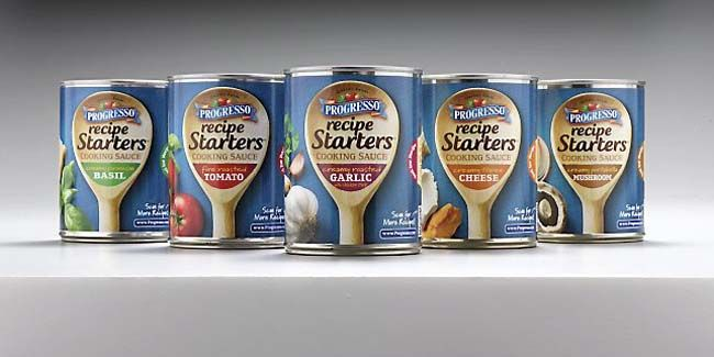 Progresso_recipe starters. Great contemporary pkg. Good line extensions & clear branding.