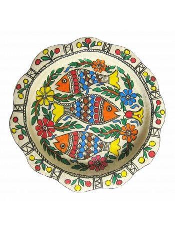 Madhubani Serving Tray-The Three Fish