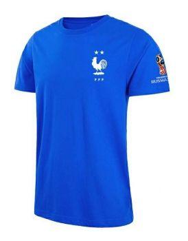 2018 World Cup T Shirt France 2 Stars Replica Blue Tee  CFC695 ... 6d575e19f