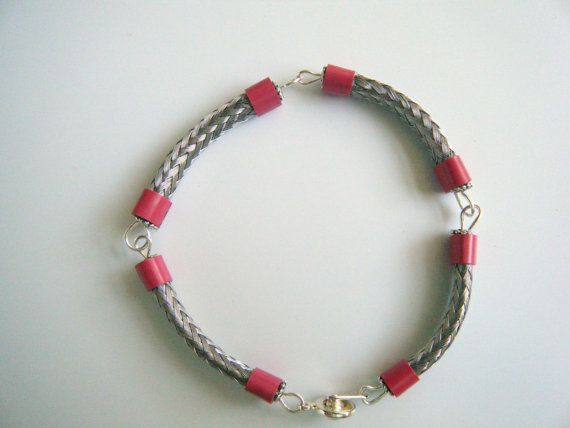 Silver Link Bracelet/ Up-Cycled TV cable/ coax2cuff/ repurposed/ Silver Weave Pink accent Link Bracelet/ NEW DESIGN from onlyformejewelry