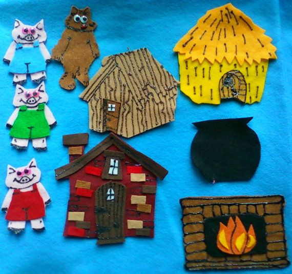 The Three Pigs and the Big Bad Wolf Flannel Board Felt Board Story Set