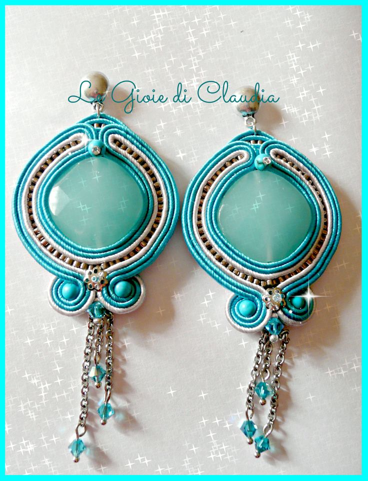 soutaches earrings with jade and swarovski