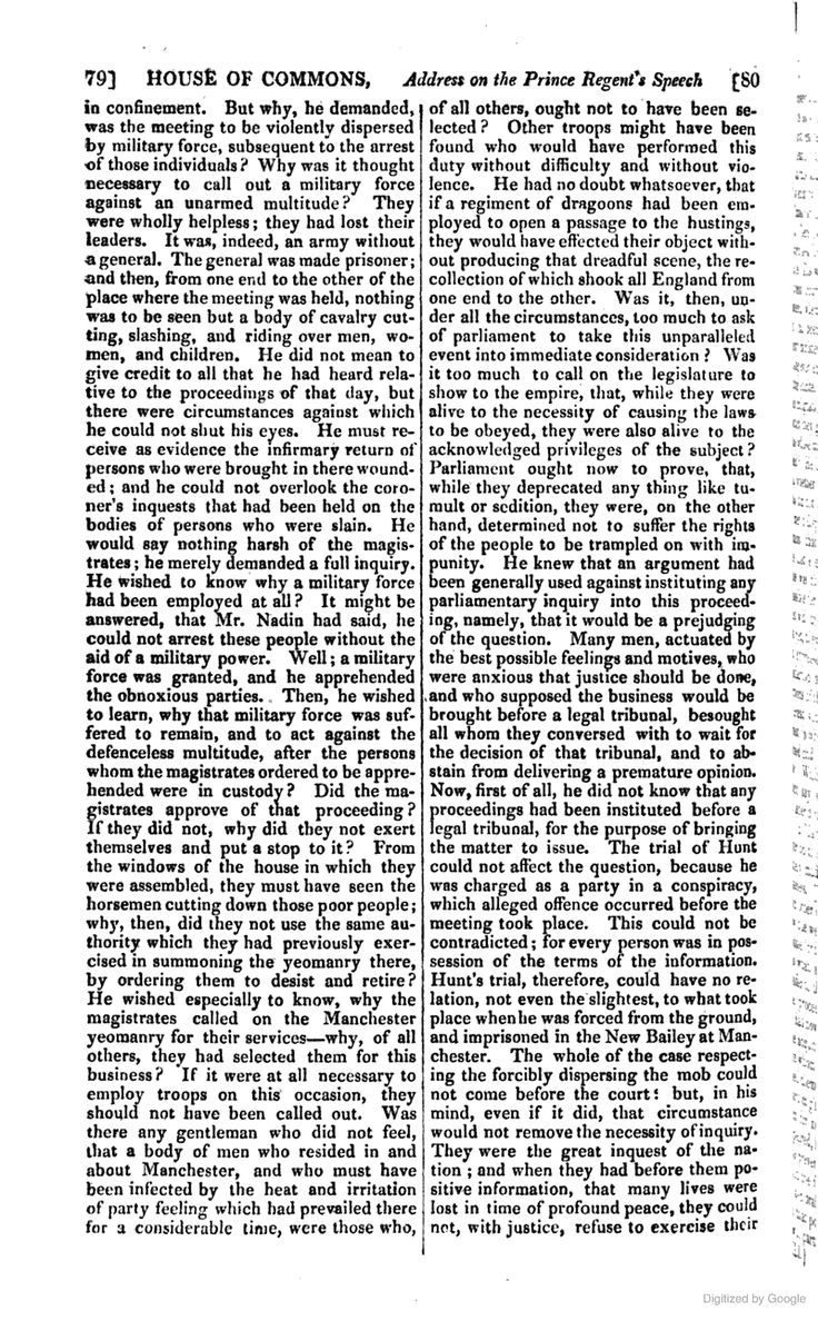 The Parliamentary Debates (official Report[s]) ...Dismissal of the Earl Fitzwilliam from the office of Lord Lieutenant of Yorkshire in 1820 following his organization of a large meeting opposed to the Peterloo Massacre.