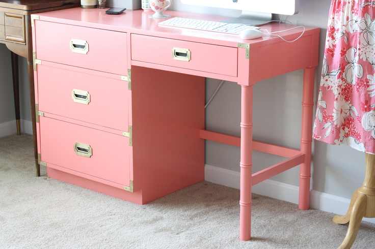 My newly painted vintage Dixie campaign desk.  The inspiration and motivation to finally start decorating my office space.