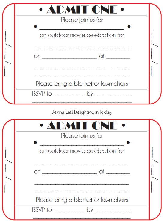 Ticket Invitation Template Movie Ticket Party Invititation Tutorial