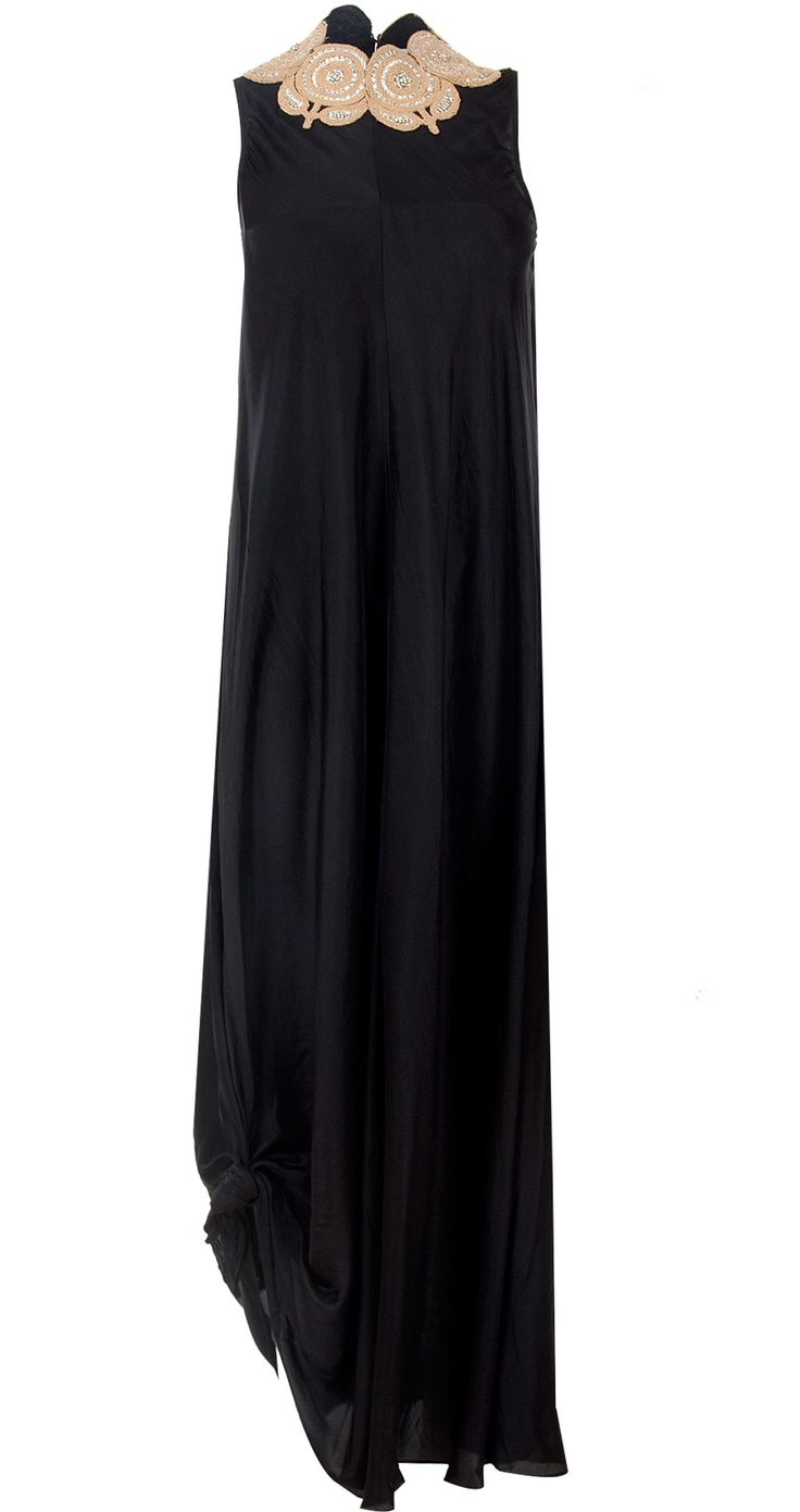 Black long dress with appliques by ANAMIKA KHANNA. http://www.perniaspopupshop.com/whats-new/anamika-khanna-black-long-dress-with-appliques-ankc0913012.html