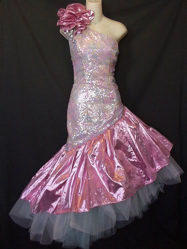 In the 80's, this dress was to-die-for! Just imagine it with really big bangs and crimped hair.  Oh yeah!