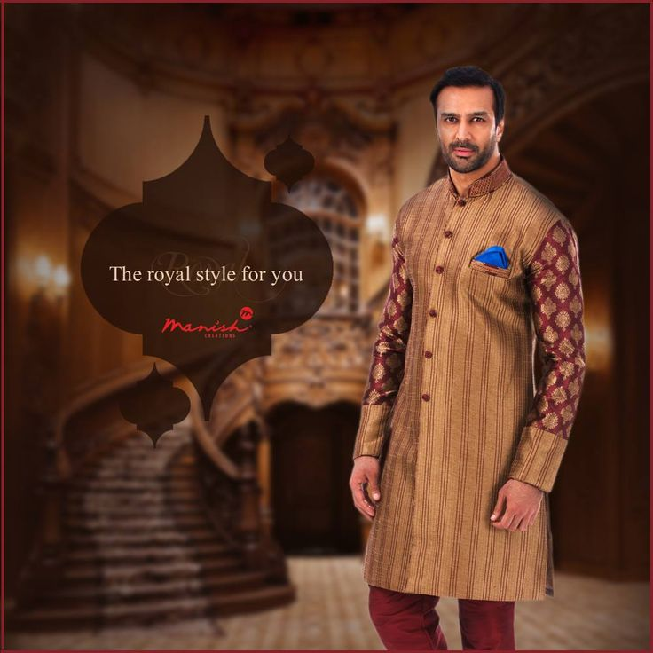 Get dressed in the colors of royalty as your look resounds with the heritage and culture of your nation. Presenting the best in men's ethnic wear.  #ManishCreations #MensFashion #Royal #Style #Ethnic #IndianWear