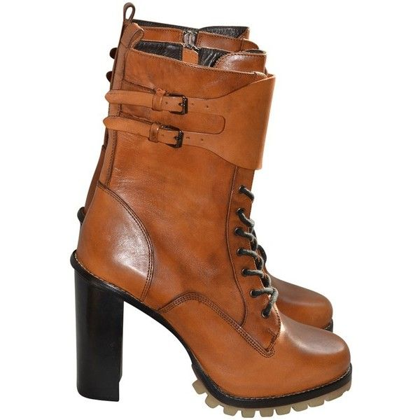 Pre-owned Ankle boots (19.395 RUB) ❤ liked on Polyvore featuring shoes, boots, ankle booties, brown, ankle bootie boots, brown bootie, barbara bui boots, short boots and brown booties