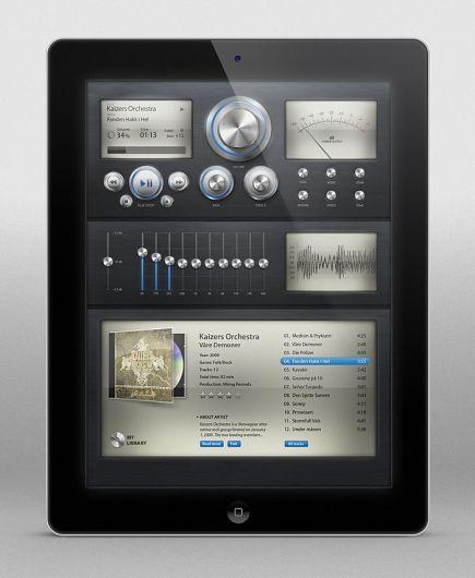 Old school stereo equalizer interface for a tablet app | Designer: Концепт приложения ?
