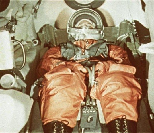 "Yuri Gagarin wearing his space suit inside the ""Vostok 1"" spacecraft several minutes before the start. 12 April 1962."