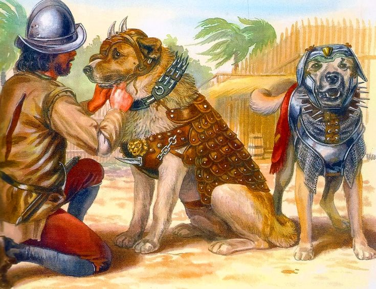 Spanish conquistadore with two Spanish mastiffs in the new world