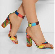 Women High Heels Sandals Rainbow Crystal Sandal Summer Style Chunky Heel Leather Shoes Ankle Wrap Gladiator Sandal 2015