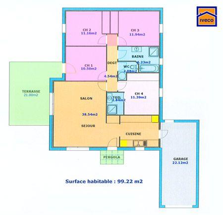 plan maison plein pied 4 chambres