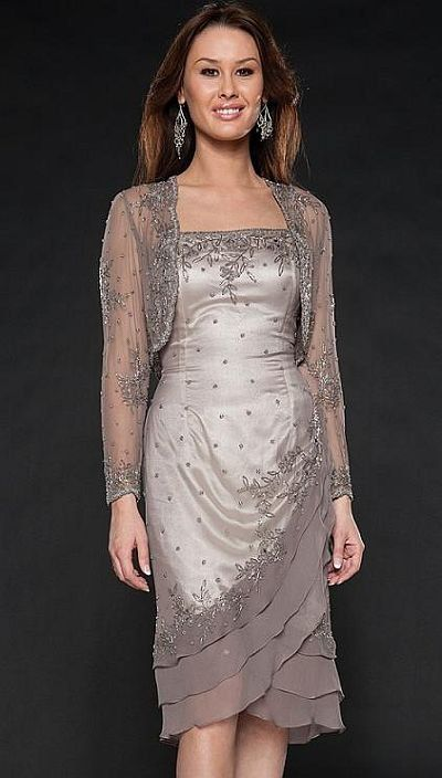 Buy chiffon embroider free jacket wedding for Silver tea length wedding dresses