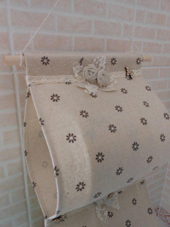 Porta rotolo di carta igienica in tessuto (fatto a mano, beige con fiori marroni)