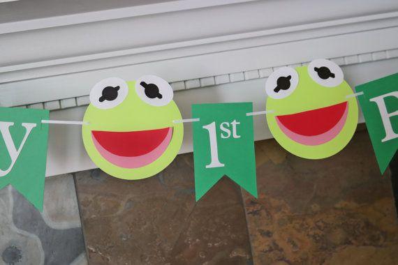 Kermit Inspired Happy Birthday Banner, Muppets Birthday Banner, Kermit the Frog, First Birthday