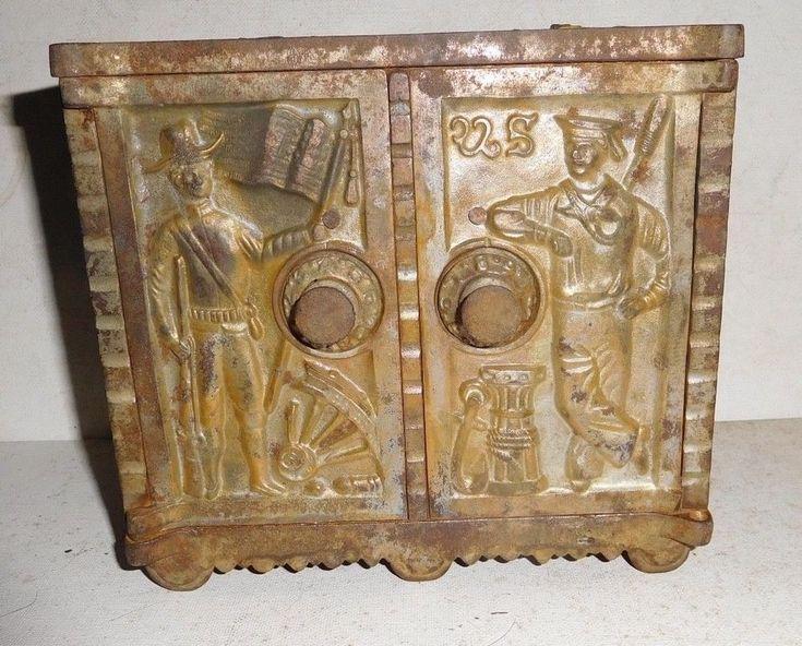 KENTON 1900s ARMY NAVY double door SAFE BANK - cast iron PENNY BANK antique toy #kenton