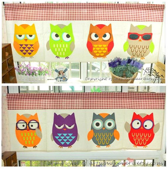 This listing is for pretty funny owl animals curtain valance. It is beautiful for kids nursery window decor,children room decor,cafe curtain,window valance,window treatment,kitchen or bathroom drape decor,anywhere can be hang for multiple use. ★★★★★★★★★★★★★★★★  Listing include: 2 valance,which is each up to 52 wide X 20 long each.  Hang flat fits 52 wide window;gethered fits 36wide window.  Total 8 different owls,each valance has different 4 owls.   Valance style: regular straight…