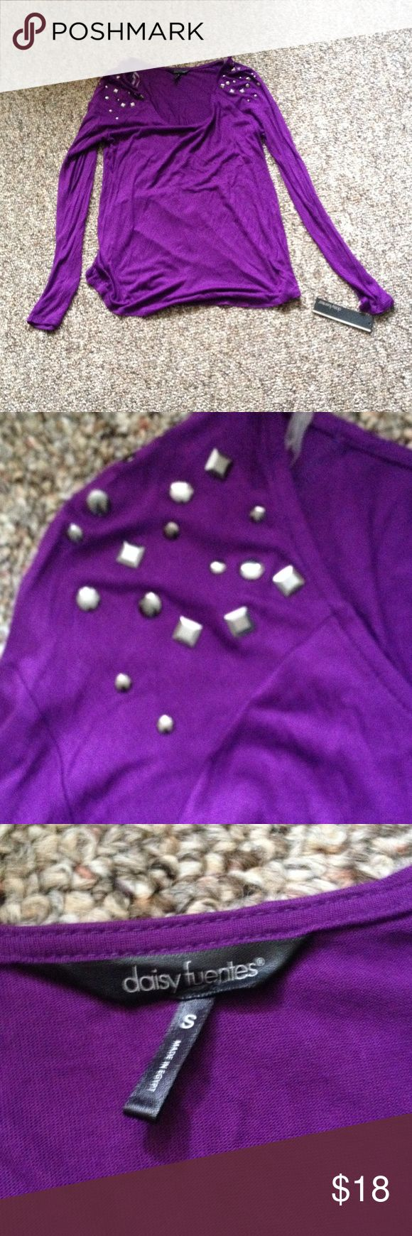 🆕listing! daisy Fuentes long sleeve top Beautiful purple long sleeve top. Soft 100% Rayon material, brand new with tag. Silver gemstones on shoulders . Daisy Fuentes Tops Blouses