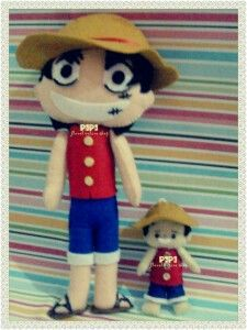 """Monkey de Luffi """"One Piece"""" Feltdoll made by Pipi Flanel.. Wanna see our feltdolls collection? Please visit our website at www.pipiflanel.com thank you :)"""