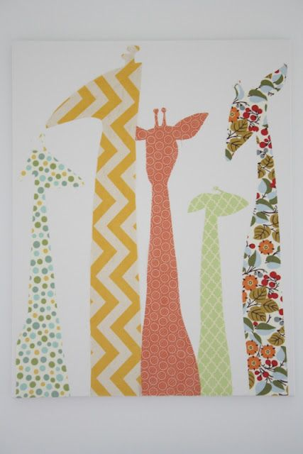 Love the idea of cutting out fabric that coordinates with baby's nursery in shapes to match the theme and then putting it on a canvas!