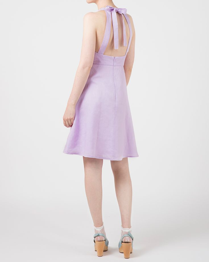 Plume Clothing. Jean Dress in lilac linen. Backless detail. Handmade in Australia.