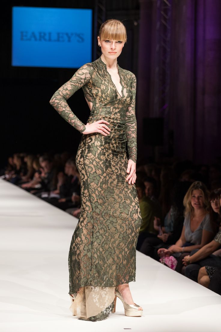 Model Amelia looks stunning on the Cathedral Catwalk in this green lace number from Earley's. #SAFW2013